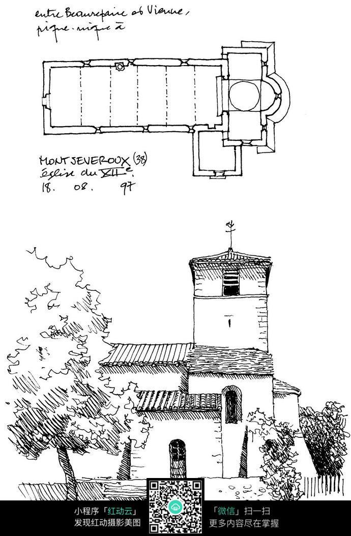 乡村建筑平面图手绘线描画图片