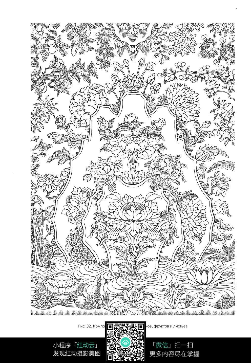 鲜花手绘线描图形