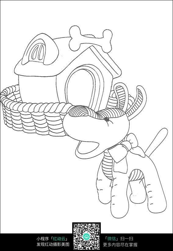 小狗房子卡通手绘线稿素材