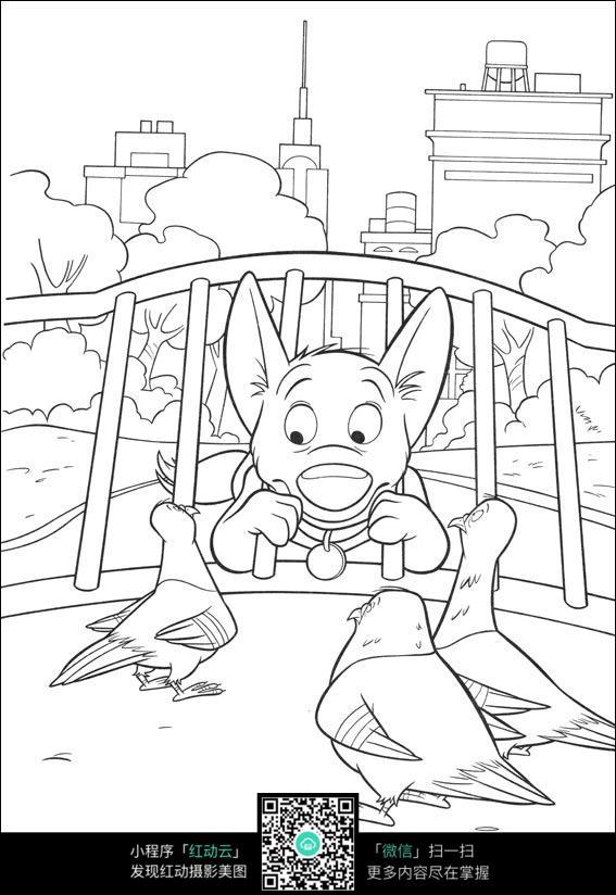 小狗和小鸟卡通手绘线描图