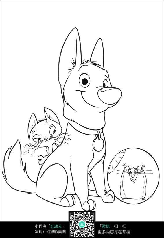 小猫小狗卡通手绘线描图图片