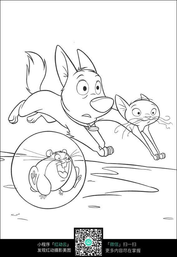 小猫小狗老鼠卡通手绘线描图