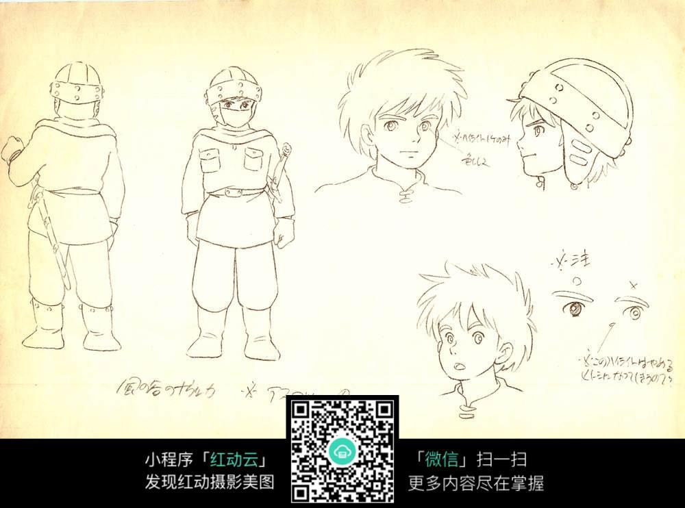 小男孩手绘线描画 背景画