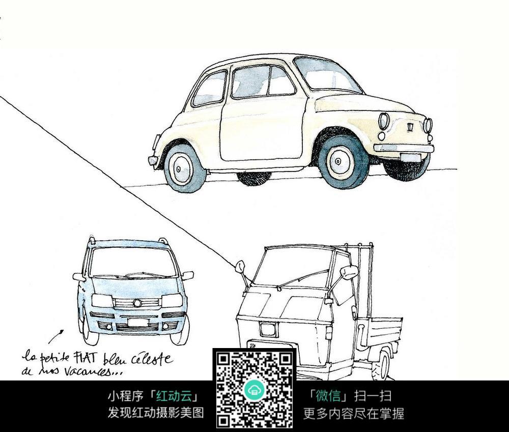 小汽车三轮车手绘线描图图片