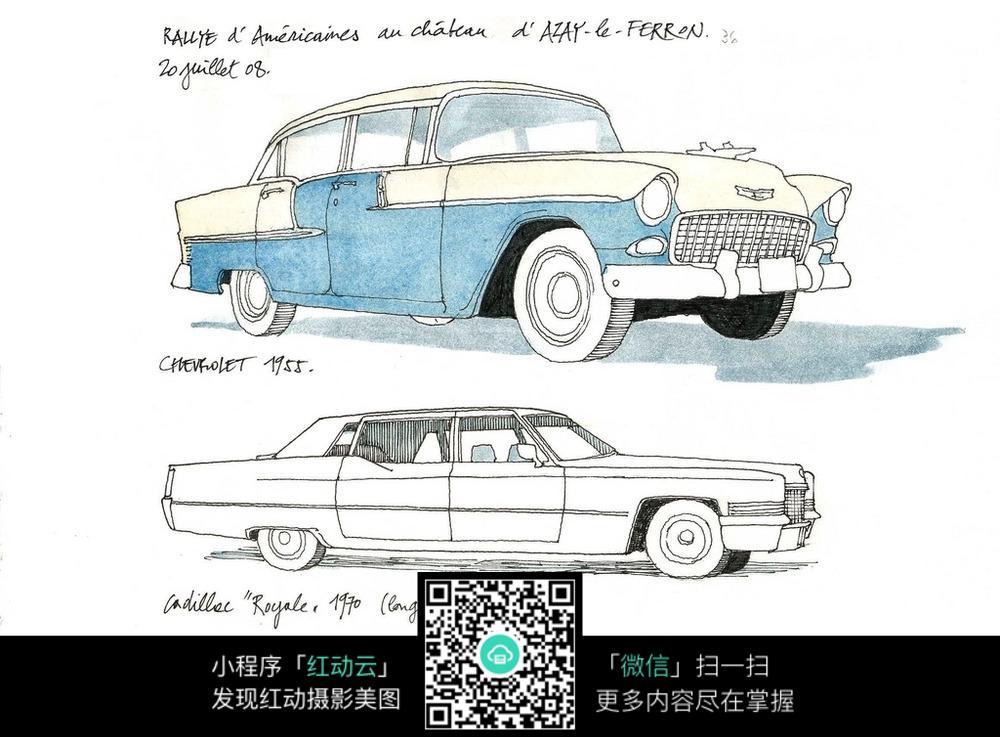 小汽车手绘水彩线描图_活动场景图片