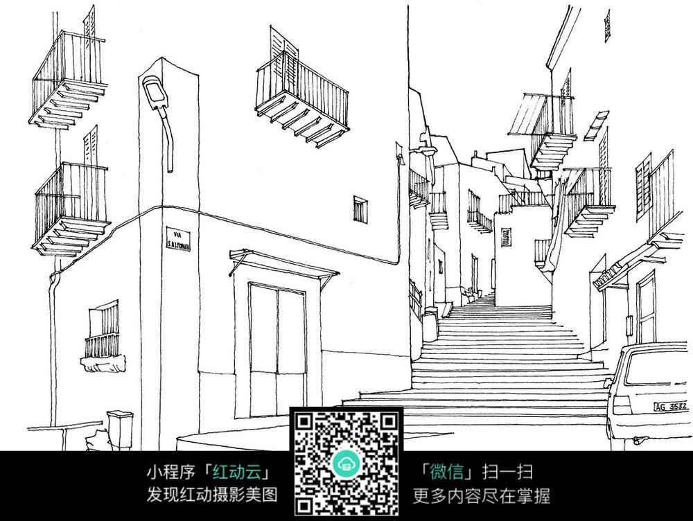 小区建筑楼梯手绘线稿画