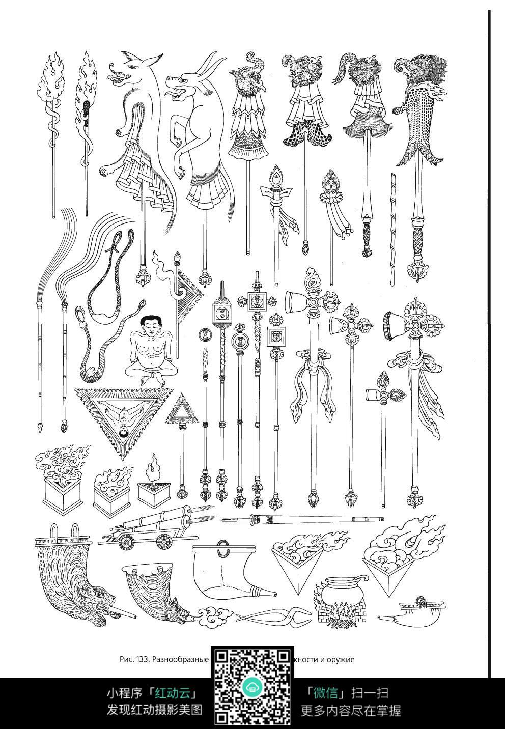 西藏符号手绘线描图片素材