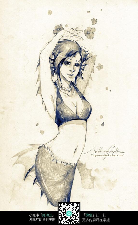 性感美女手绘线描画图片免费下载(编号3708108)_红动网