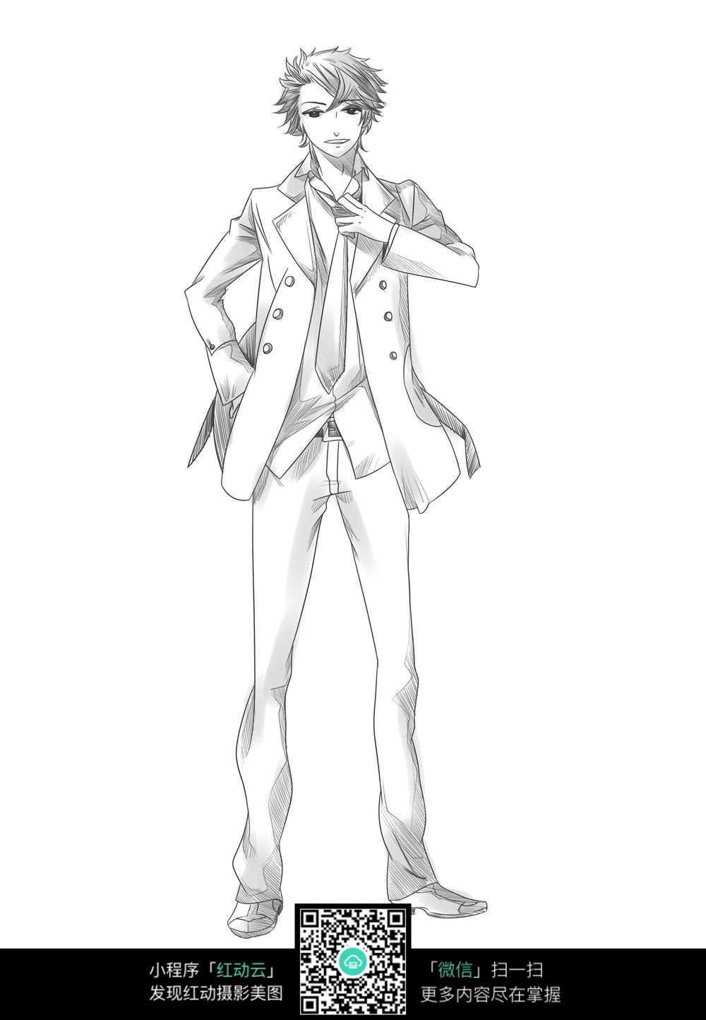 西装革履的男孩人物