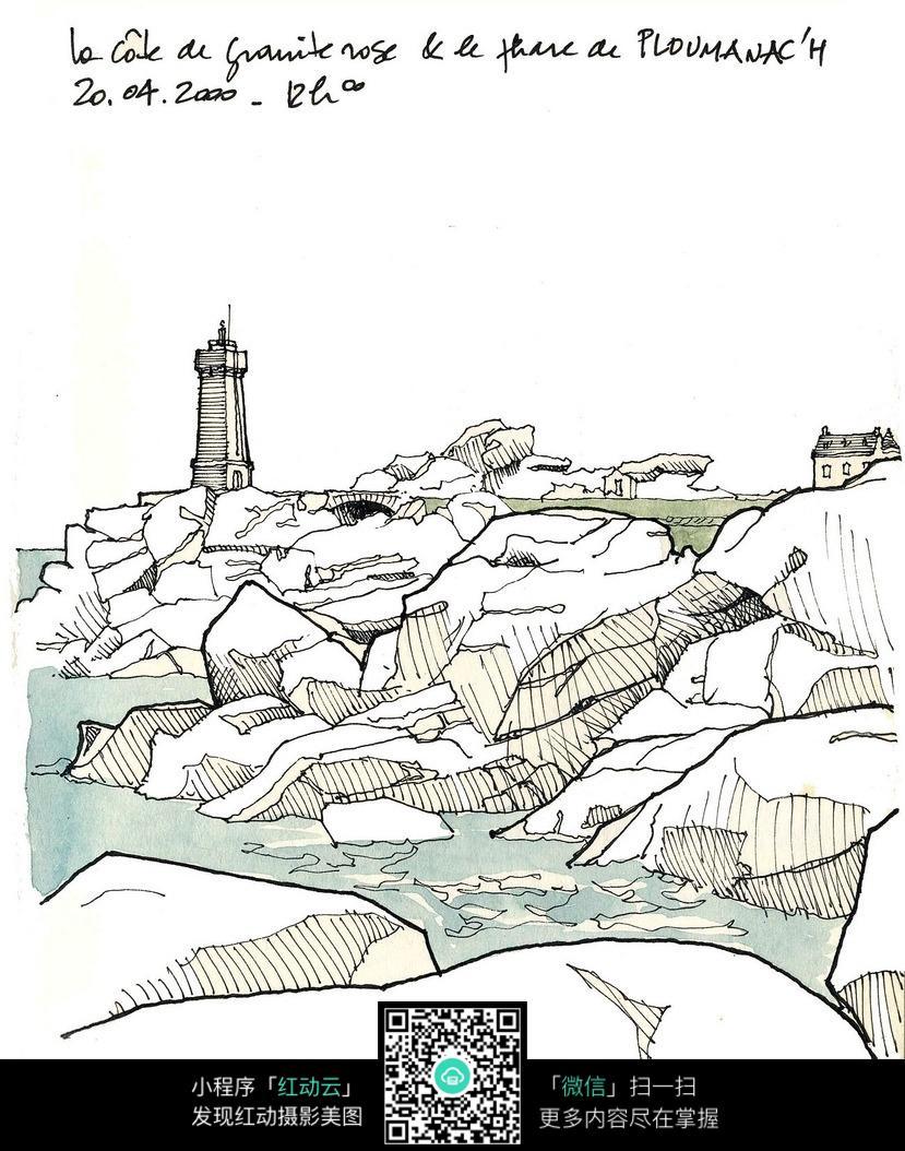 悬崖上的建筑手绘线描图