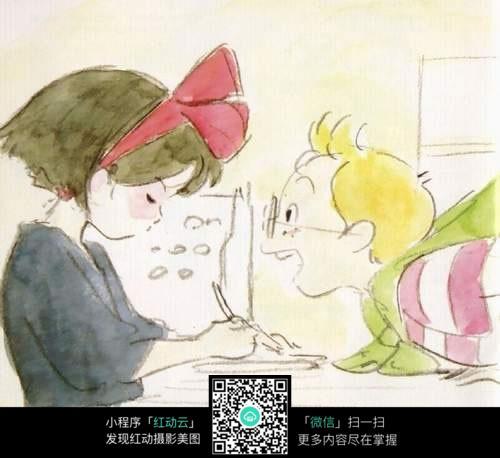 免费素材 图片素材 漫画插画 人物卡通 学习的女孩捣蛋的男孩手绘水彩