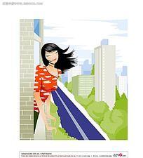 阳台吹风的美女矢量素材图片