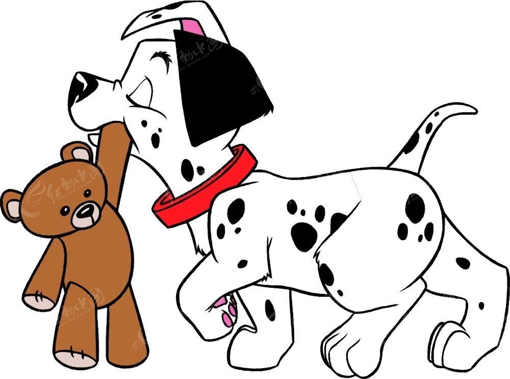 咬着玩具熊的斑点狗插画