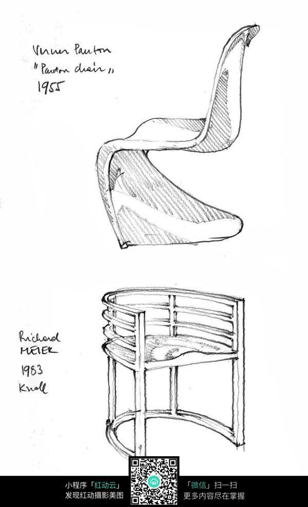 椅子手绘素描图形图片