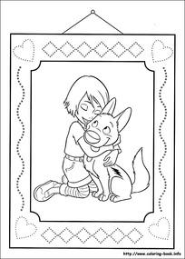 拥抱的小孩小狗卡通手绘线描图