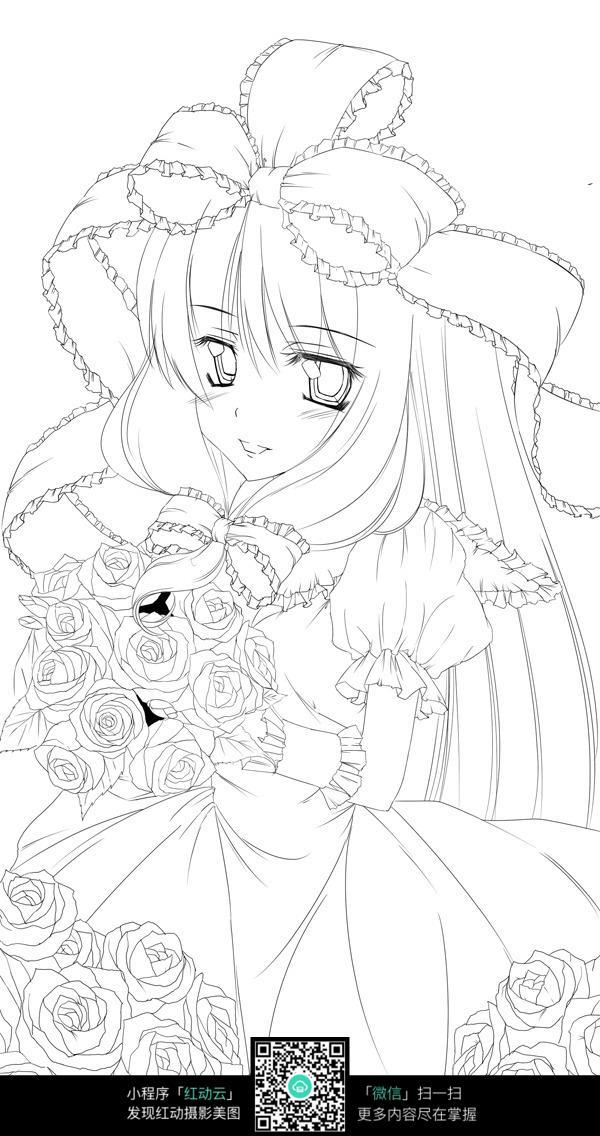 扎蝴蝶结穿花裙子的美少女手绘线稿图
