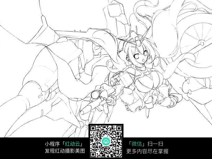 战斗美少女手绘线稿图