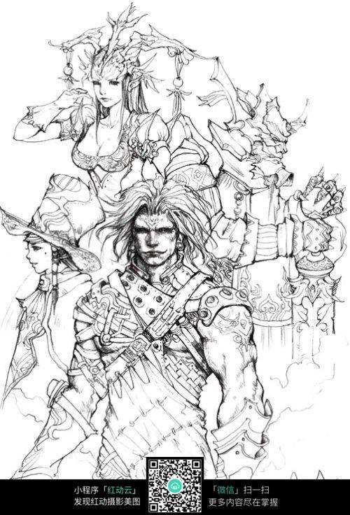 战士手绘素描画