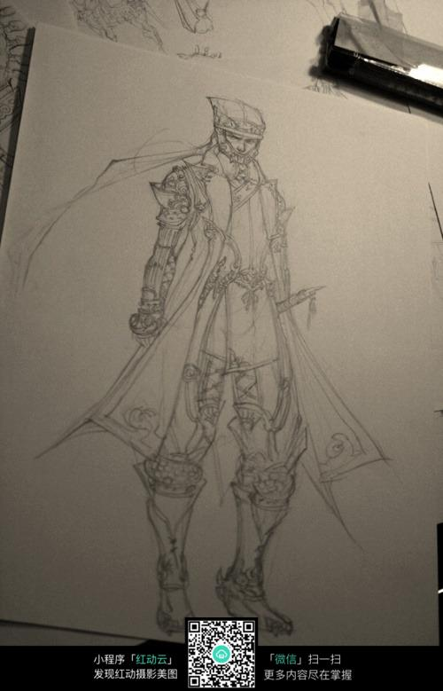 战士手绘线描图