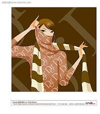 展示围巾的韩国美女矢量素材图片