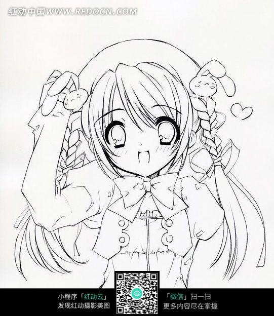 织麻花鞭的美少女手绘线描插画素材图片