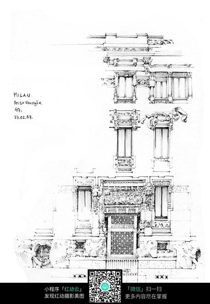 中国古建筑手绘写生