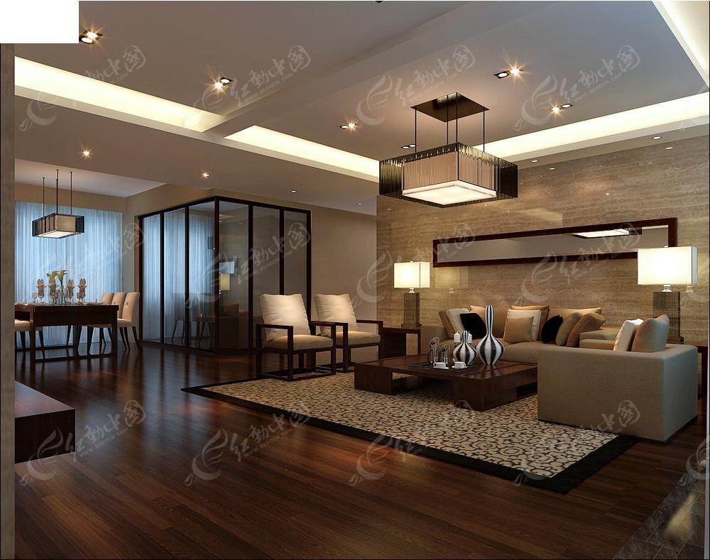 中式风格客餐厅效果图3dmax免费下载_室内设计素材图片