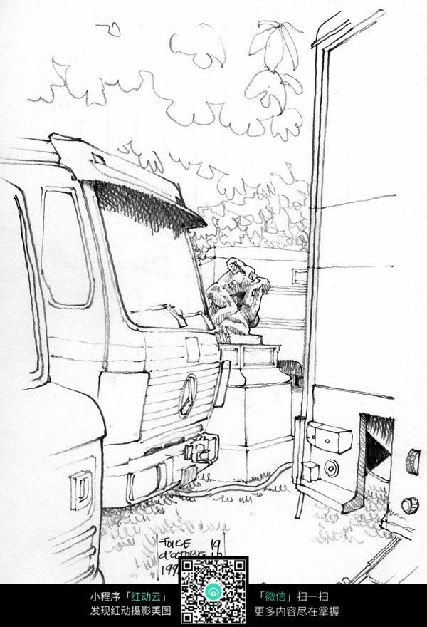 撞建筑物的卡车手绘线描画