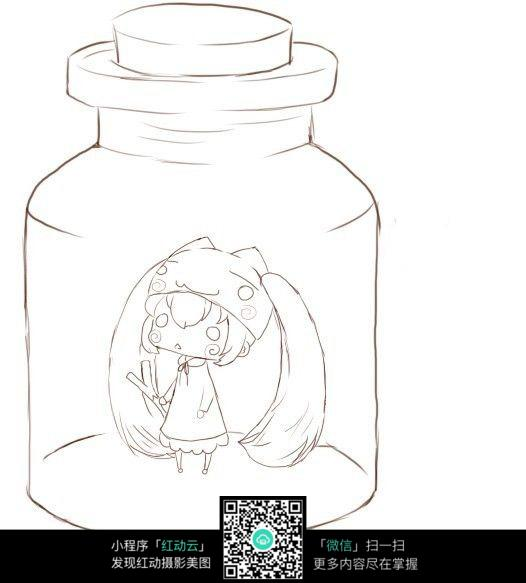免费素材 图片素材 漫画插画 人物卡通 装里漂流瓶里的女孩线描  请您