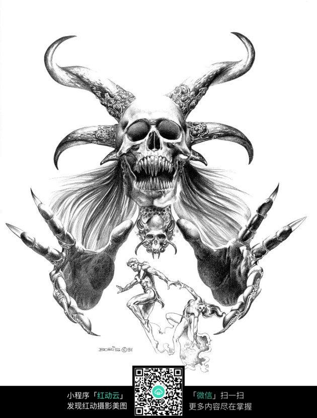 抓情侣的怪物手绘素描图