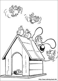 抓小鸟的小狗卡通手绘线描图