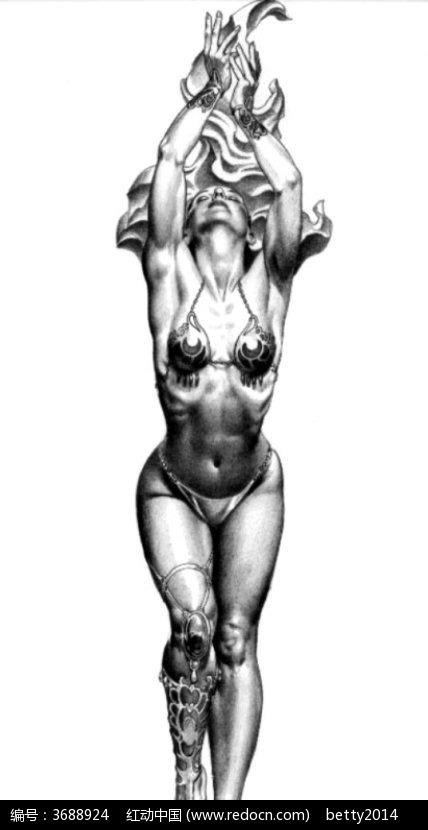 准备下跪祈祷的裸体美女手绘素描图
