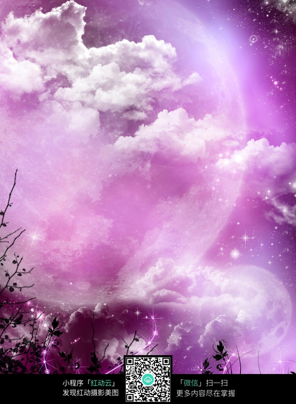 紫色唯美月色背景