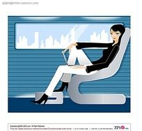座位上休息的美女矢量素材图片