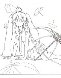 坐在地上伞从中的长发美少女手绘线稿插画