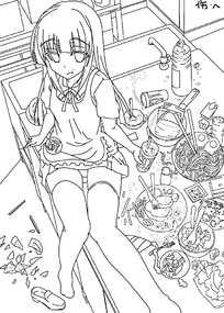 坐在桌上吃东西的美少女手绘线稿插画