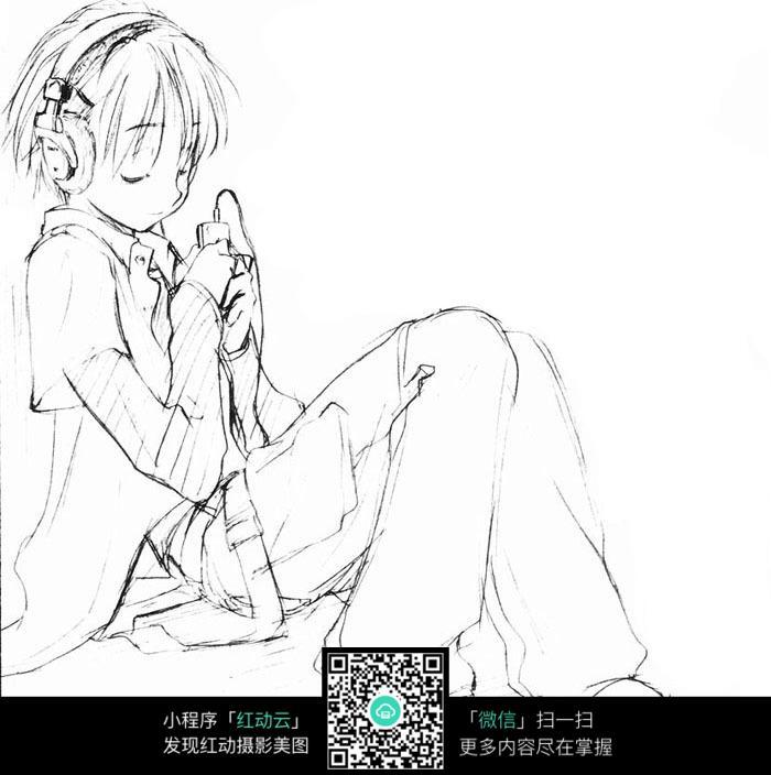 坐着听歌的小女孩手绘线稿图