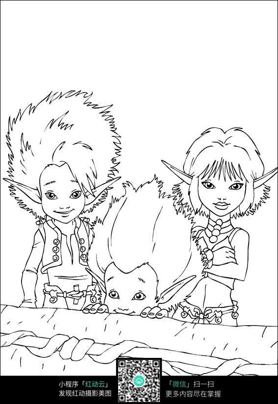 3个小孩手绘线稿素材
