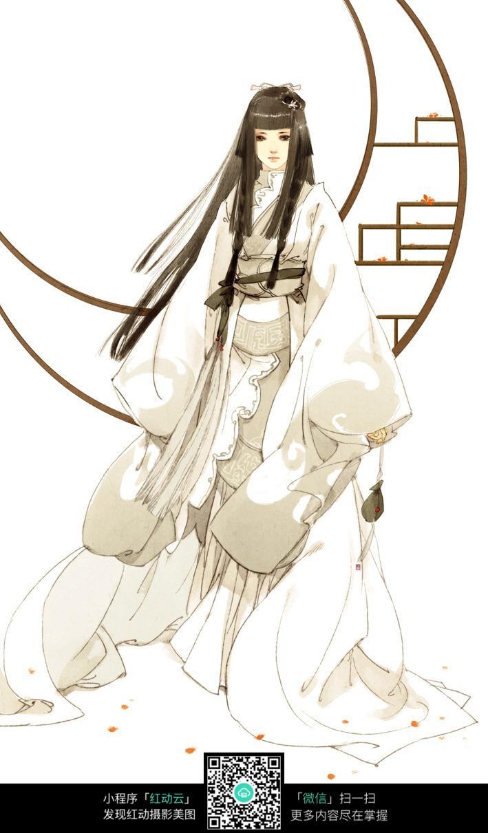 白衣长发古韵美女手绘填色画