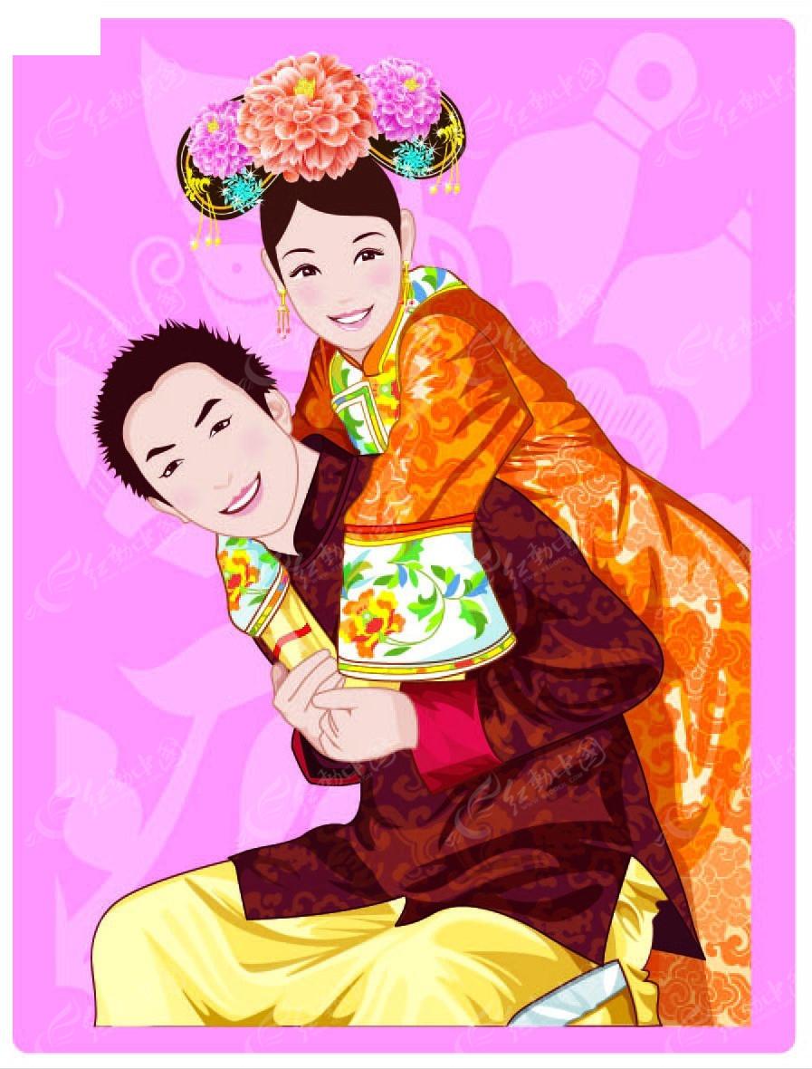 抱媳妇中国古代婚礼插画
