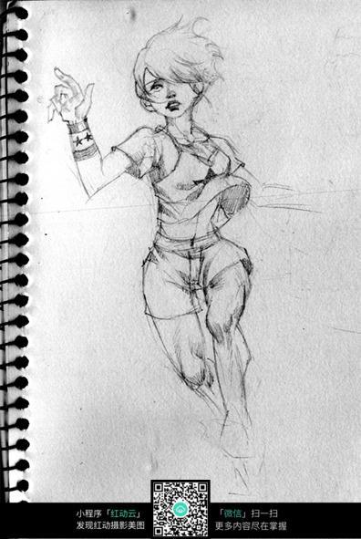 奔跑的少女手绘线描画图片