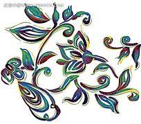 彩色花纹线条装饰图案psd素材