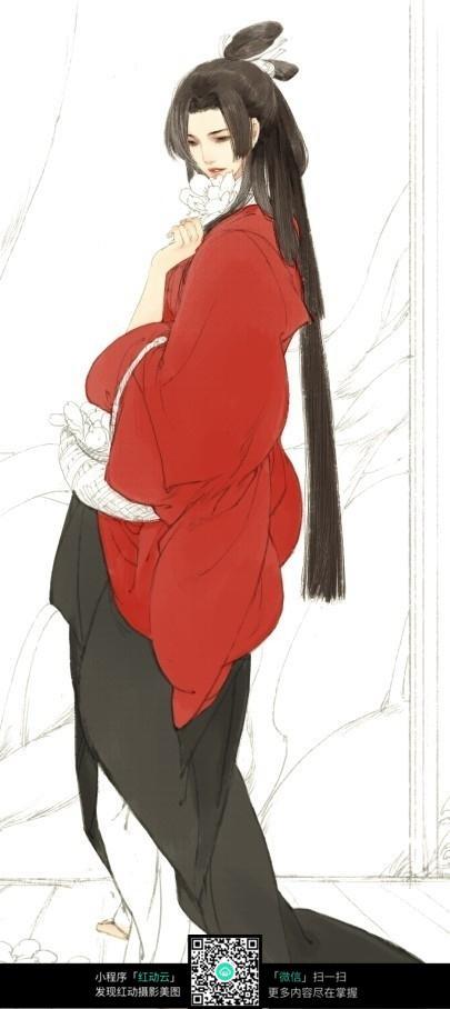 长发红衣古韵美女手绘填色画图片