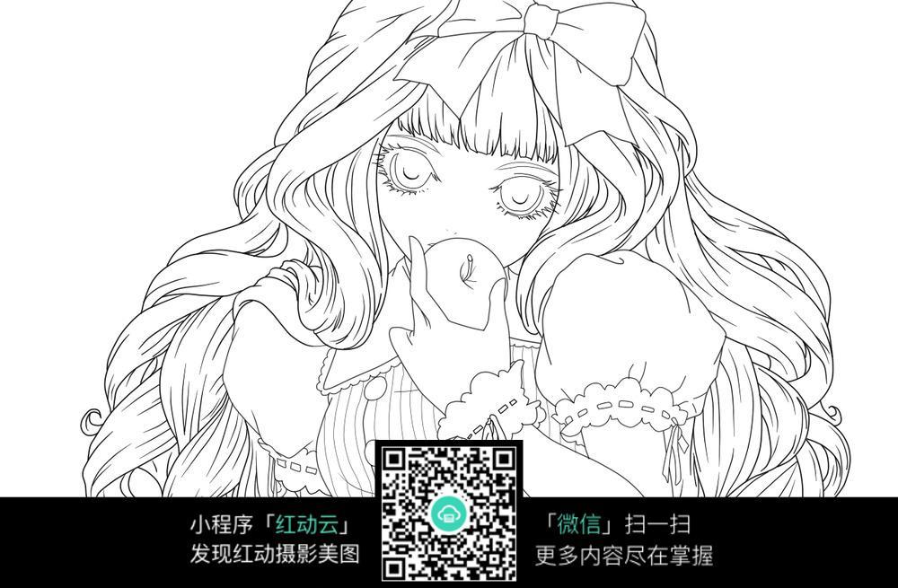 吃苹果的卡通长发女孩素描稿