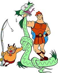 大力士海格力斯和师傅菲罗斯狩猎卡通