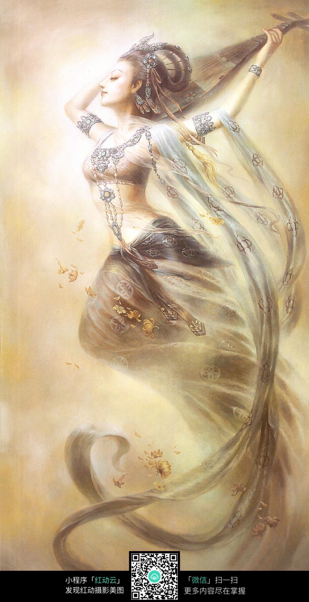 弹琵琶的侧面美女油画图片