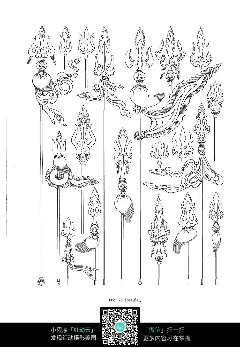 刀叉手绘线描图片