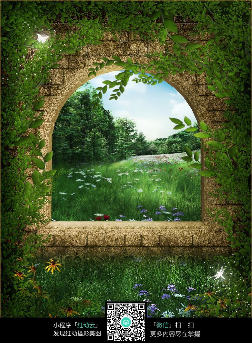 森林大树房子数码背景画_道路摄影图片_红动手机版