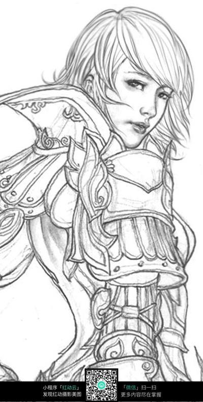 短发美少女手绘线稿素材图片