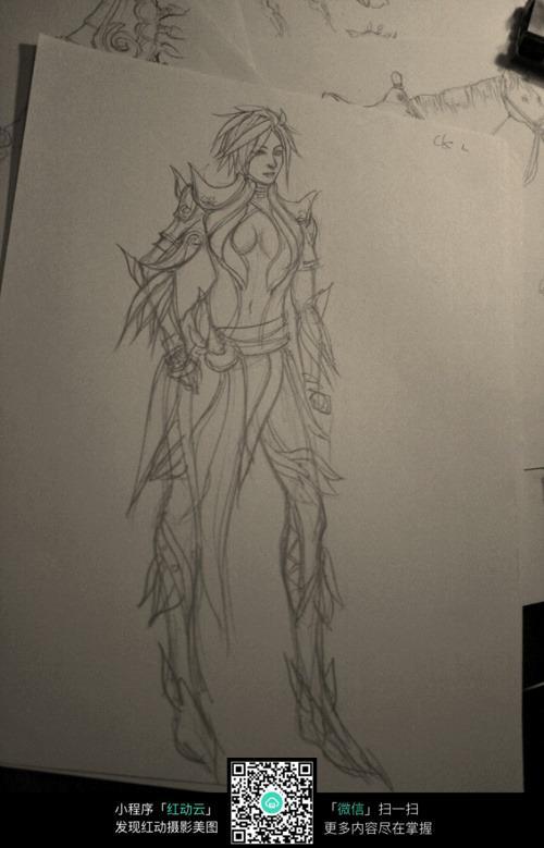 短发美少女战士手绘线稿素材